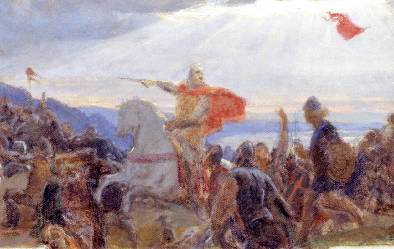 Henrik Olrik (1830–1890). Fragment Taani rahvuslipu legendi kujutavast maalist